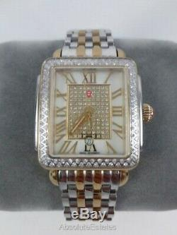 Michele Deco Madison Mid Pave Diamond Gold Silver Watch MWW06G000007 Refurb NIB
