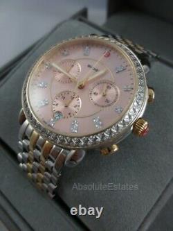 Michele Sidney Two Tone Gold Silver Diamond Pink Watch MWW30A000047 Refurb NIB