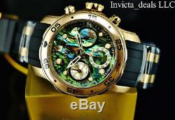 NEW Invicta Women's 38mm Scuba Pro Diver Blue Abalone Dial Gold Tone SS Watch