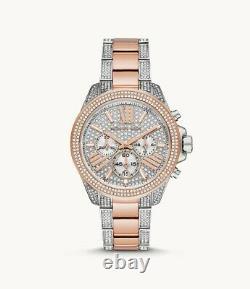 NEW Michael Kors Wren Two Tone Pave Glitz Rose Gold & Silver Watch MK6707 NIB