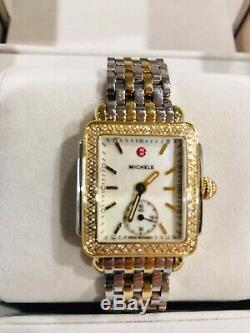 NEW Michele Deco 16 Two Tone Gold Silver Diamond Watch MW06V01C5025 Refurb NIB