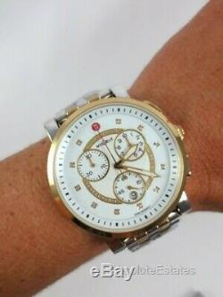 NEW Michele Large Gold Silver Two Tone Sport Sail Diamond Watch MWW01K000119