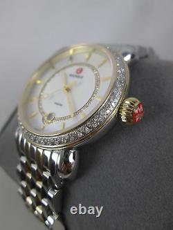 NEW Michele Two Tone Gold Silver CSX 36 Elegance Diamond MOP Watch MWW03T000042