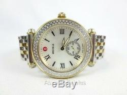 NEW Michele Two Tone Gold Silver Diamond Caber Ladies Watch MWW16A000066 NIB Box