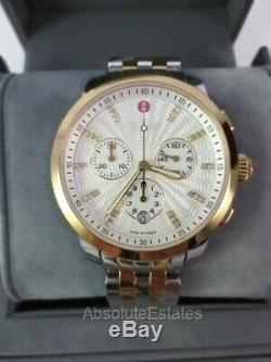 NEW Michele Uptown Diamond Two Tone Gold & Silver Watch MWW25A000002 NIB