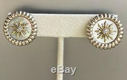 NEW SLANE Diamond & 18K Yellow Gold Silver SOLIS Sunburst Earrings RARE