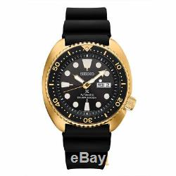 NEW Seiko SRPC44 Turtle Men's 45mm Gold Tone Case Rubber Strap Black Dial Watch