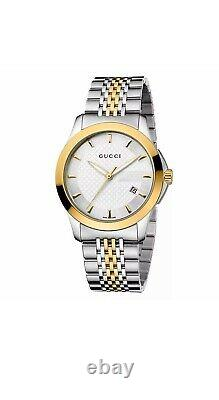 New Gucci G-Timeless Silver Dial Two Tone Gold YA126409 38mm Watch