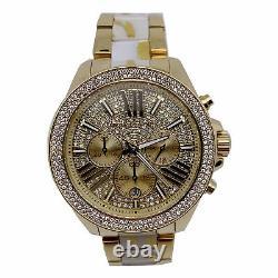 New Michael Kors MK6157 Wren Gold Tone Crystal Chronograph Quartz Ladies Watch