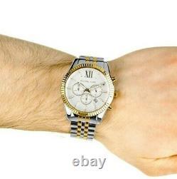 New Michael Kors Mk8344 Lexington Two-tone Analog White Dial Mens Watch
