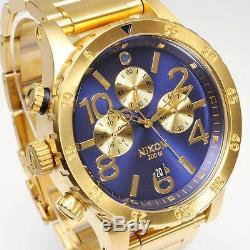 New NIXON Mens Watch 48-20 CHRONO Gold Blue Sunray A486-1922 A4861922