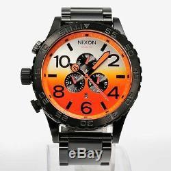 New NIXON Watch 51-30 CHRONO ALL BLACK / SUNRISE A083-580 A083580