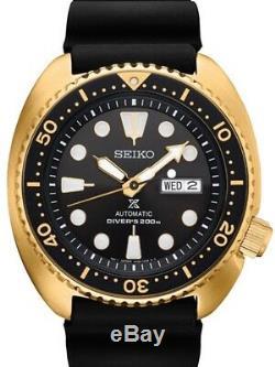 New Seiko SRPC44 Prospex Automatic Diver Gold Tone Silicone Strap Mens Watch