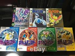 Nintendo Pokemon GB GBA 7 Lot Green Red Yellow Blue Gold Silver Crystal With Box