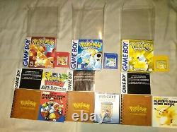 Pokemon Red/Blue/YellowithGold/Silver/Crystal Cib With Inserts Free Shipping