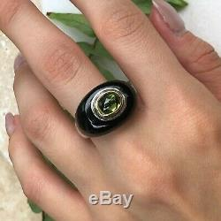 Polished Black Onyx & Peridot 18KT Yellow Gold & Silver Large Dome Ring NEW