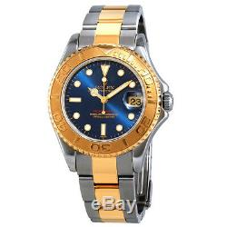 Pre-owned Rolex Yachtmaster Blue Dial Two-Tone Watch PRE-RLX168623BLSO
