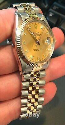 ROLEX 16013 18K Gold/Stainless Steel Datejust Circa 1986 Champagne Diamond Dial