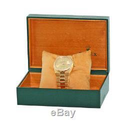 ROLEX 18K Yellow Gold Day Date President Oyster Quartz 36mm Box Warranty 19018