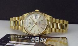 ROLEX 36mm Mens 18kt Gold Day Date President Silver Stick 18238 SANT BLANC