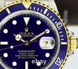 ROLEX Mens 18kt Gold & Steel Submariner Indigo Blue No Holes 16613 SANT BLANC