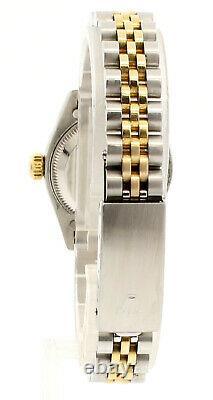 ROLEX Oyster Perpetual 18k & Steel Datejust 26mm Blue MOP Dial Diamond Watch
