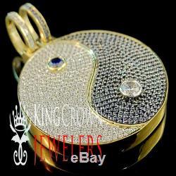 Real 10K Yellow Gold Silver Custom Piece Yin Ying Yang Pendant Diamond Charm 2'
