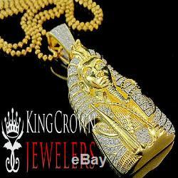 Real 10K Yellow Gold Silver King Tut Pendant Lab Diamond Egyptian Pharaoh Chain