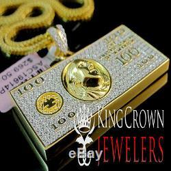 Real 10K Yellow Gold Silver Simu Diamond US 100 Dollar Bill Money Pendant +Chain