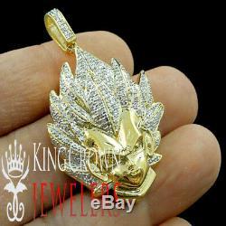 Real Diamond 10K Yellow Gold Silver Dragon Ball Z Son Saiyan Goku Charm Pendant