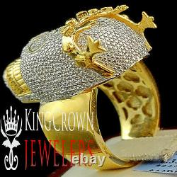 Real Genuine Diamond Mens Heavy 14k Yellow Gold Silver D/vvs1 Crown Skull Ring