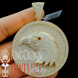 Real Yellow Gold Silver Custom Medallion American Eagle Bird Pendant Big XL 3'