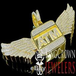 Real Yellow Gold Silver Custom Piece ATM Eagle Wings Pendant Simu Diamond Charm