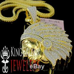 Real Yellow Gold Silver Lab Diamond Pendant Native American Indian Charm + Chain