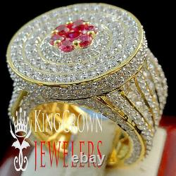 Real Yellow Gold Silver Lab Diamond XXL Big Huge Red Ruby Mens Pinky Ring Band