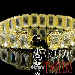 Real Yellow Gold Silver Mens Ladies Lab Diamond Crystal Clear Zirconia Bracelet