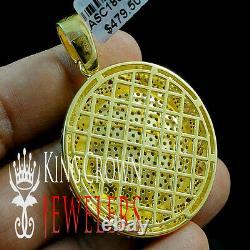 Real Yellow Gold Silver Simu Diamond Miami Cuban Round Medallion Pendant Charm