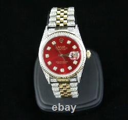 Rolex 18K /SS Datejust, Custom Diamond Fully Iced-Out 4.5ct Mens Watch