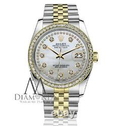 Rolex 26mm Datejust 2 Tone White MOP Mother of Pearl String Diamond Dial & Bezel