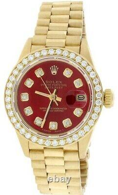 Rolex 26mm Presidential Datejust Red Diamond Dial & Bezel 18k Yellow Gold Watch