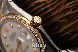 Rolex 36mm Datejust 18k Gold & SS Diamond Watch White Mother of Pearl Dial