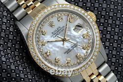 Rolex 36mm Datejust 2 Tone White MOP Mother of Pearl String Diamond Dial & Bezel