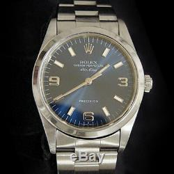 Rolex Air King Mens Stainless Steel Watch Oyster Bracelet Blue Arabic Dial 14000