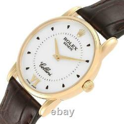 Rolex Cellini Classic 18k Yellow Gold Silver Dial Brown Strap Watch 5116 Box