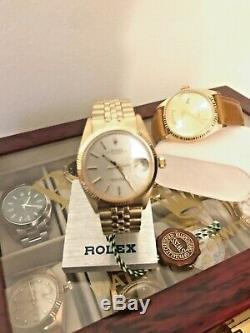 Rolex Date 14K Yellow Gold Silver Dial Vintage Mens Watch 1503