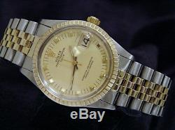 Rolex Date 1505 Mens 2Tone Yellow Gold & Steel Watch Champagne Dial Jubilee