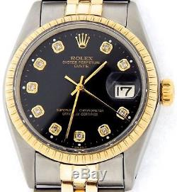 Rolex Date 1505 Mens Stainless Steel Yellow Gold Watch Black Diamond Dial