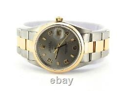 Rolex Date 15203 Mens Steel 18K Yellow Gold Watch Oyster Band Slate Arabic Dial