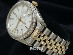 Rolex Date Mens Stainless Steel Yellow Gold Watch White Roman Dial Diamond Bezel