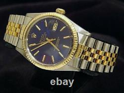 Rolex Datejust 2Tone 18K Gold Stainless Steel Watch Jubilee Band Blue Dial 16013